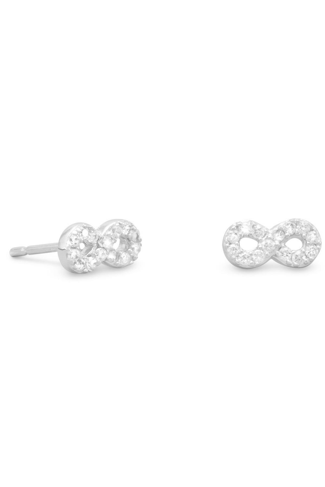 MMA Silver Infinity Stud Earrings - Front Cropped Image