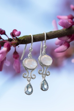 MMA Silver Moonstone Topaz Earrings - Alternate List Image
