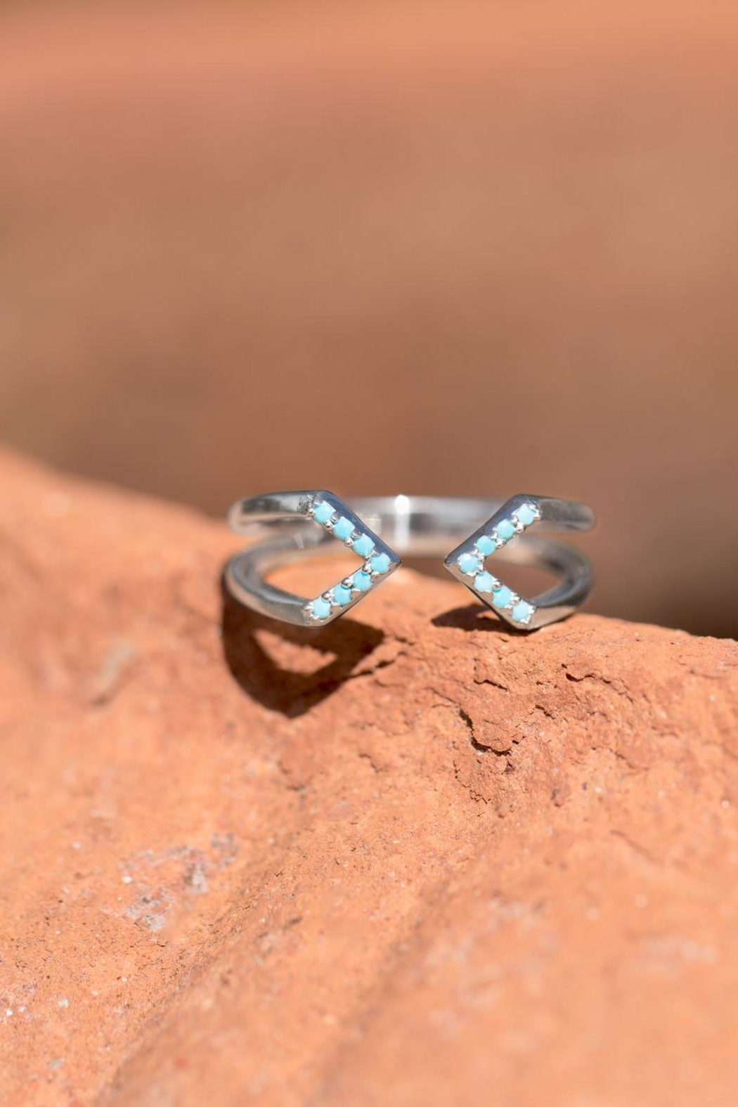 MMA Silver Nano Turquoise Ring - Back Cropped Image