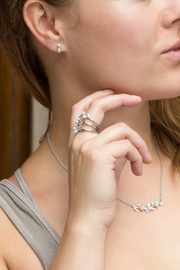 MMA Silver Pearl Leaf Ring - Front full body