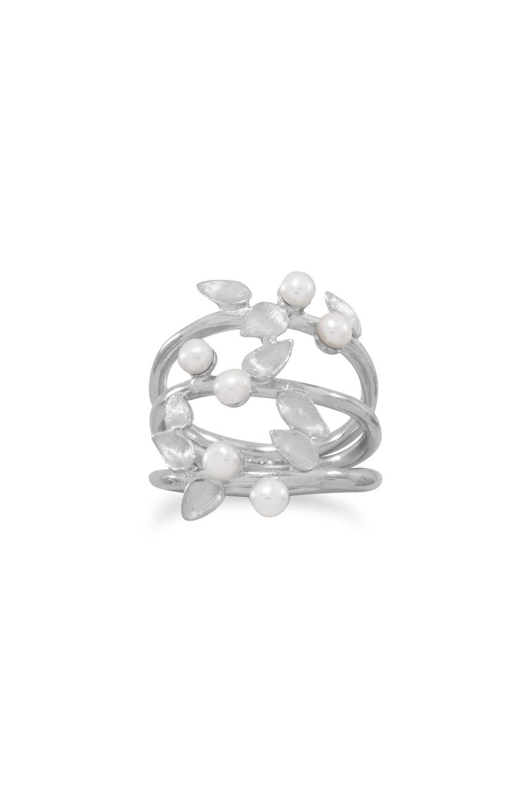 MMA Silver Pearl Leaf Ring - Main Image