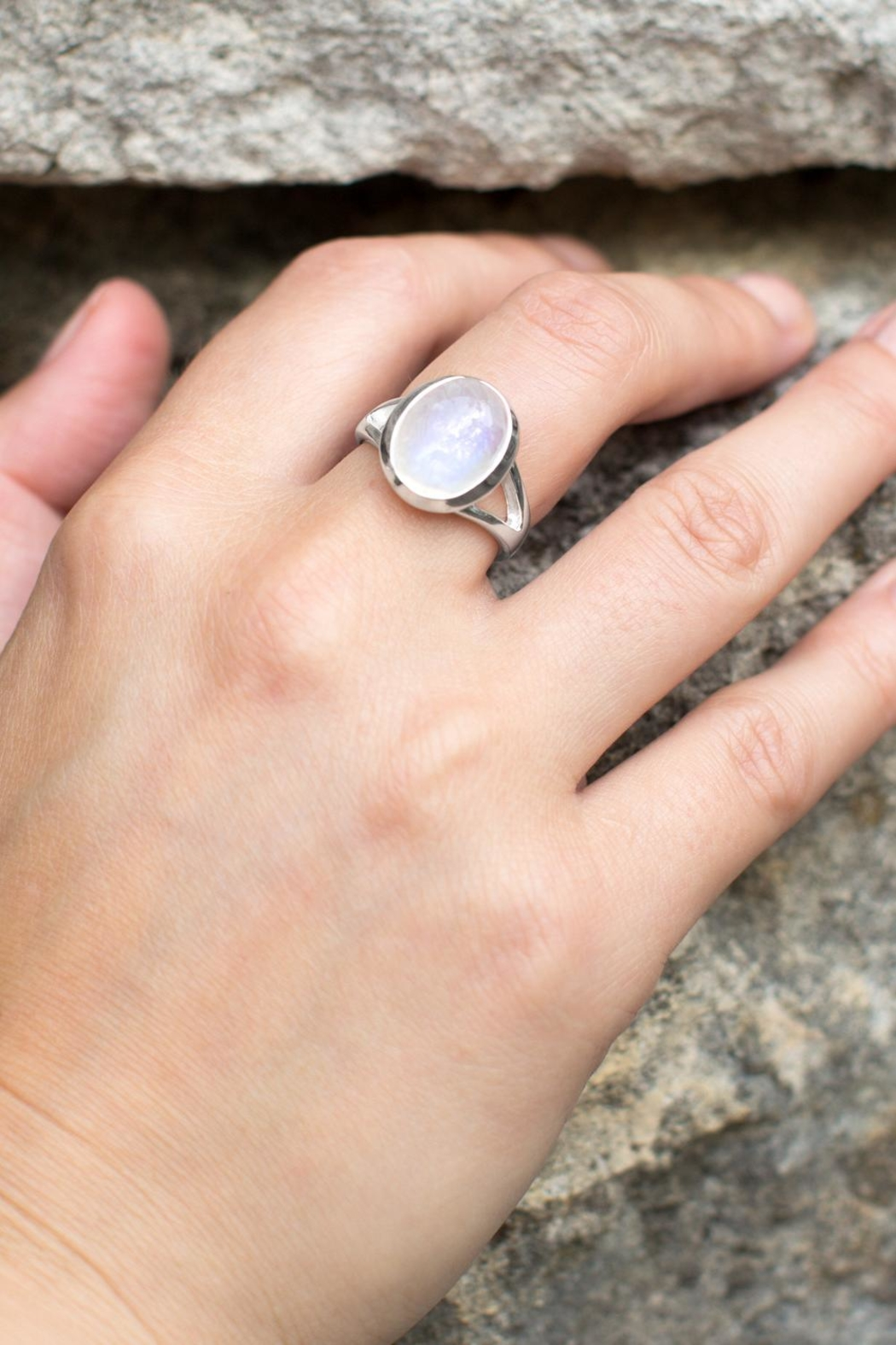 MMA Silver Sterling Moonstone Ring - Front Full Image