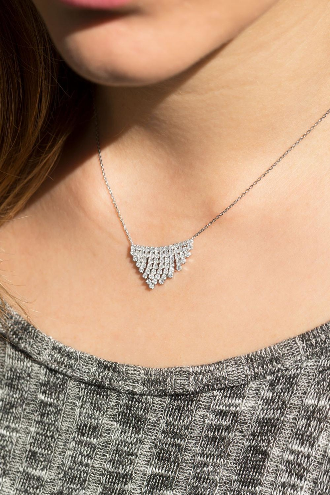 MMA Silver V Sparkle Necklace - Front Full Image