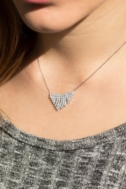 MMA Silver V Sparkle Necklace - Front full body