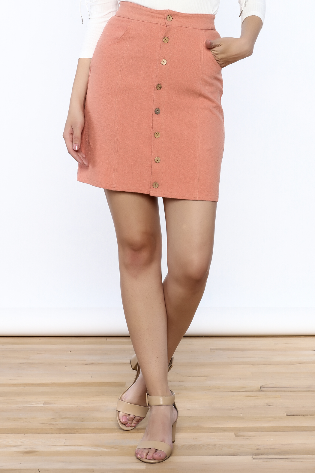mo:vint Linen Skirt - Front Cropped Image