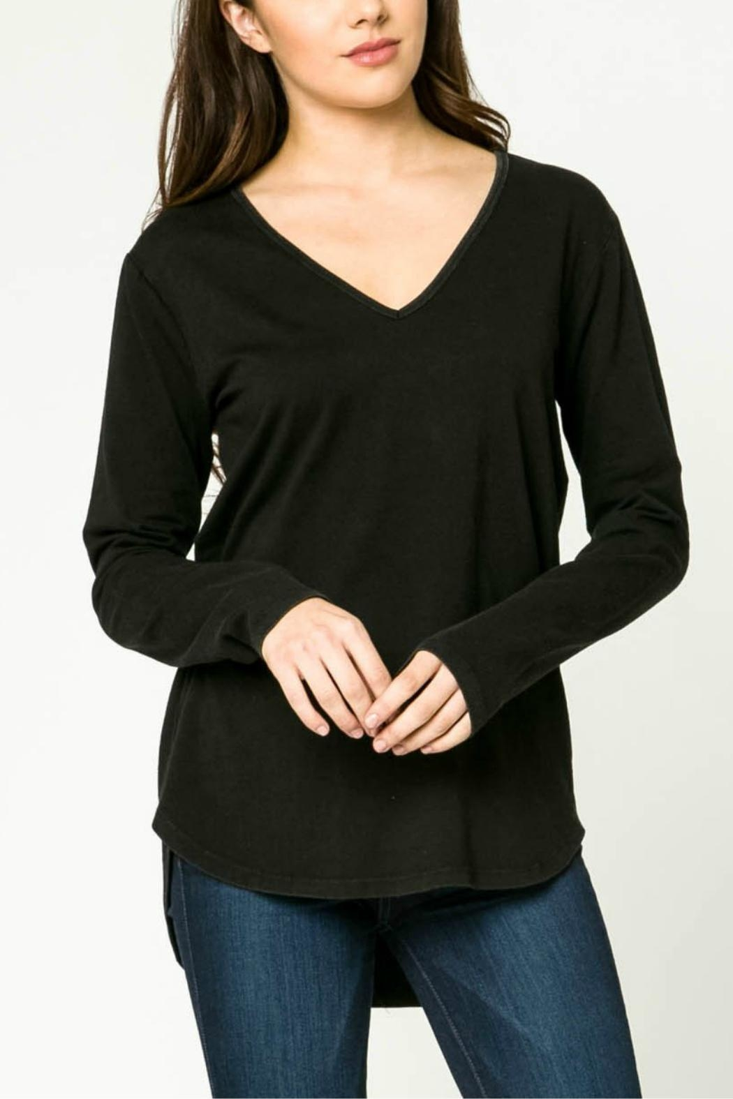 mo:vint Long Sleeve V-Neck Top - Front Cropped Image
