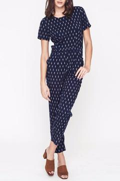Shoptiques Product: Patterned Navy Jumpsuit