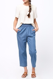 mo:vint Smocked Denim Culotte Pants - Product Mini Image