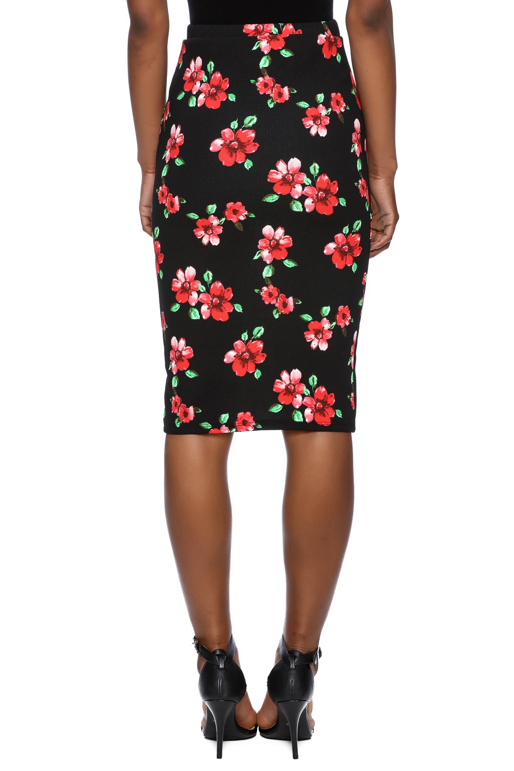 Moa Floral Printed Pencil Skirt - Back Cropped Image