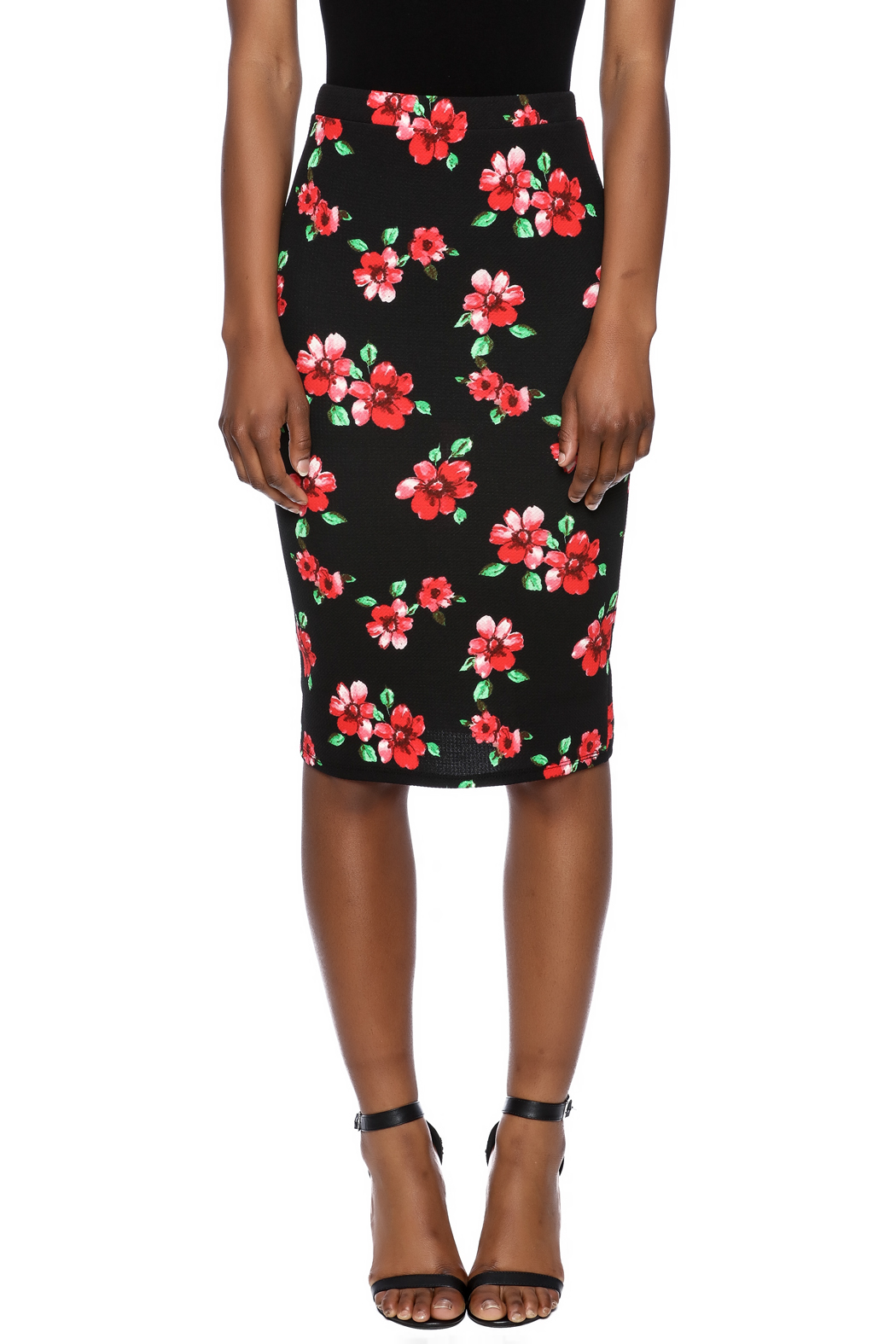 Moa Floral Printed Pencil Skirt - Side Cropped Image