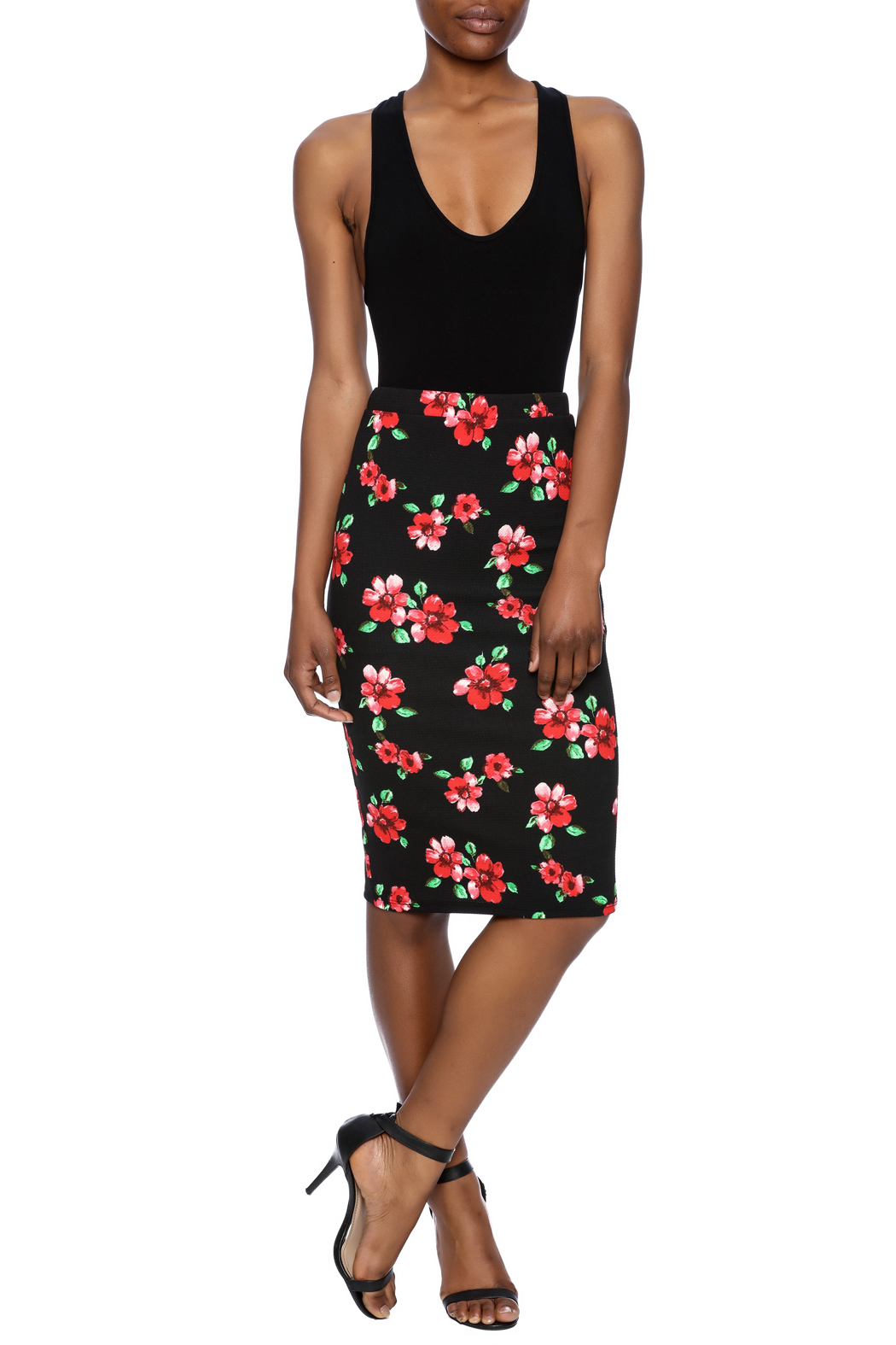 Moa Floral Printed Pencil Skirt - Front Full Image