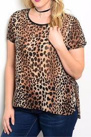 Moa Brown Leopard Plus Tee - Product Mini Image