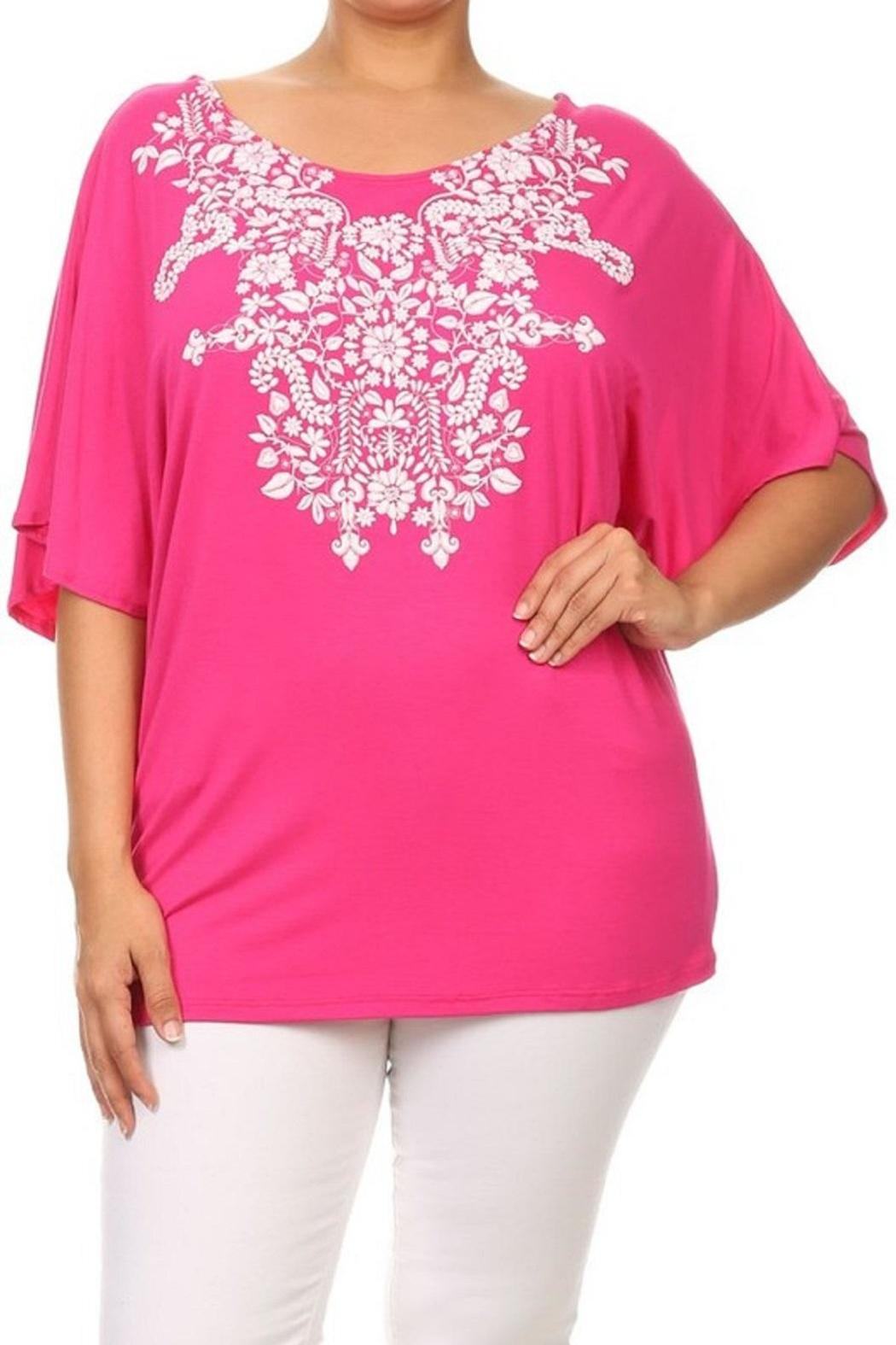 Moa Floral Embossed Top - Main Image