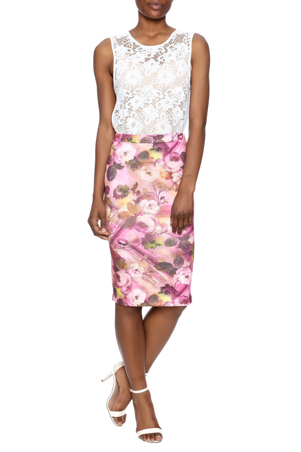 Moa Floral Pencil Skirt - Front Full Image