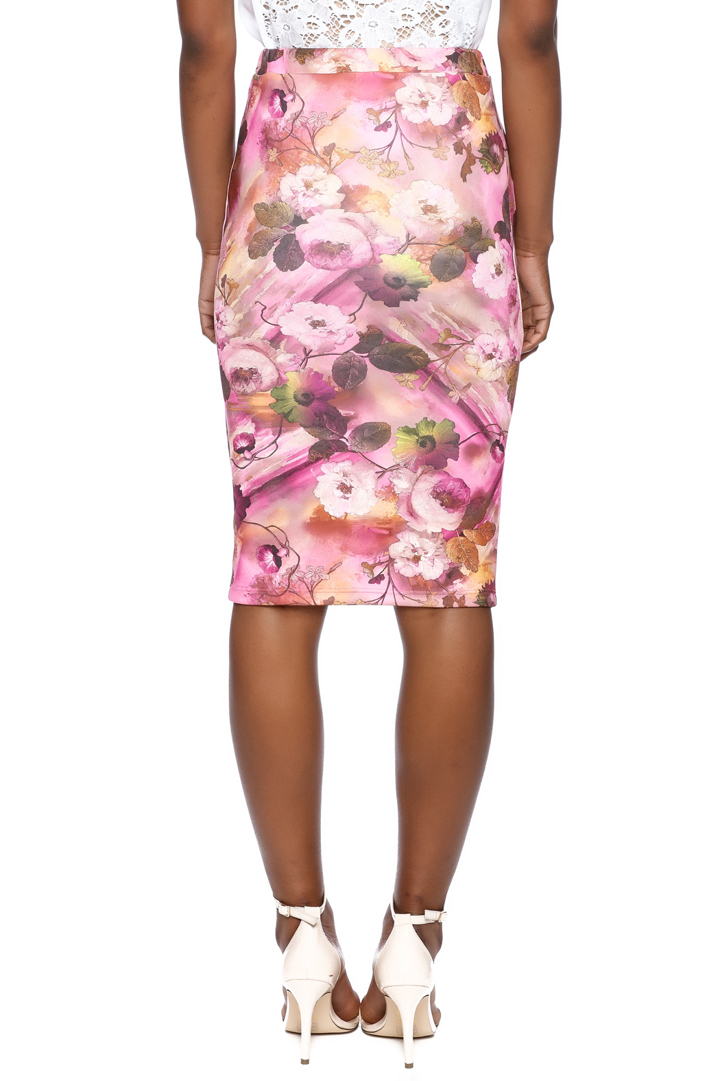 Moa Floral Pencil Skirt - Back Cropped Image