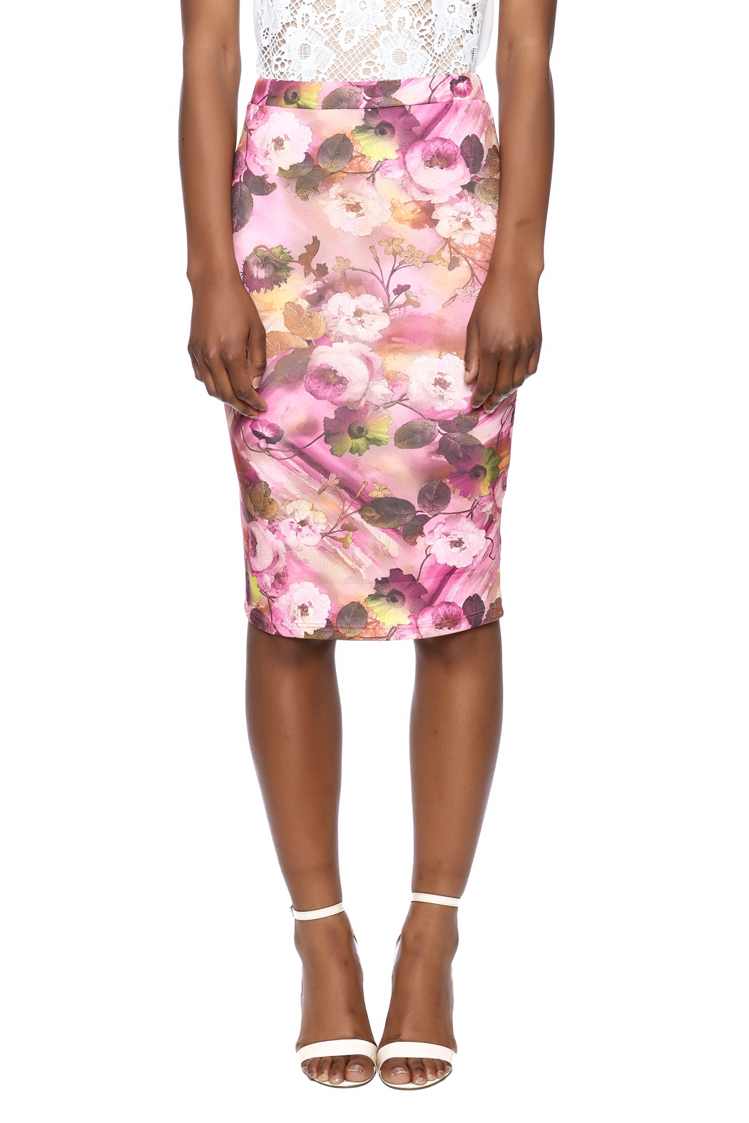 Moa Floral Pencil Skirt - Side Cropped Image