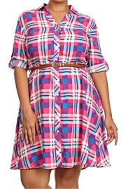 Moa Plaid Belted Plus Dress - Product Mini Image