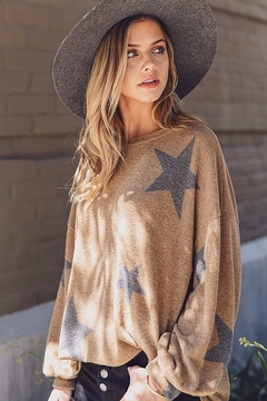 Shoptiques Product: Mocha Brushed Star Print