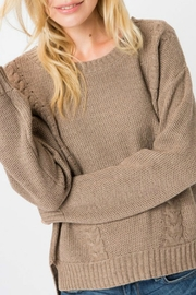 Cozy Casual Mocha Cable-Knit Pullover - Product Mini Image