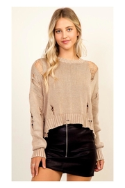 Polly & Esther Mocha Distressed Sweater - Product Mini Image