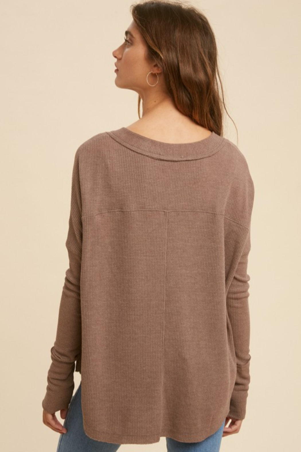 In Loom Mocha Latte Thermal Button Down - Side Cropped Image