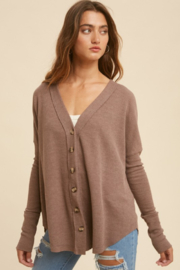 In Loom Mocha Latte Thermal Button Down - Front cropped