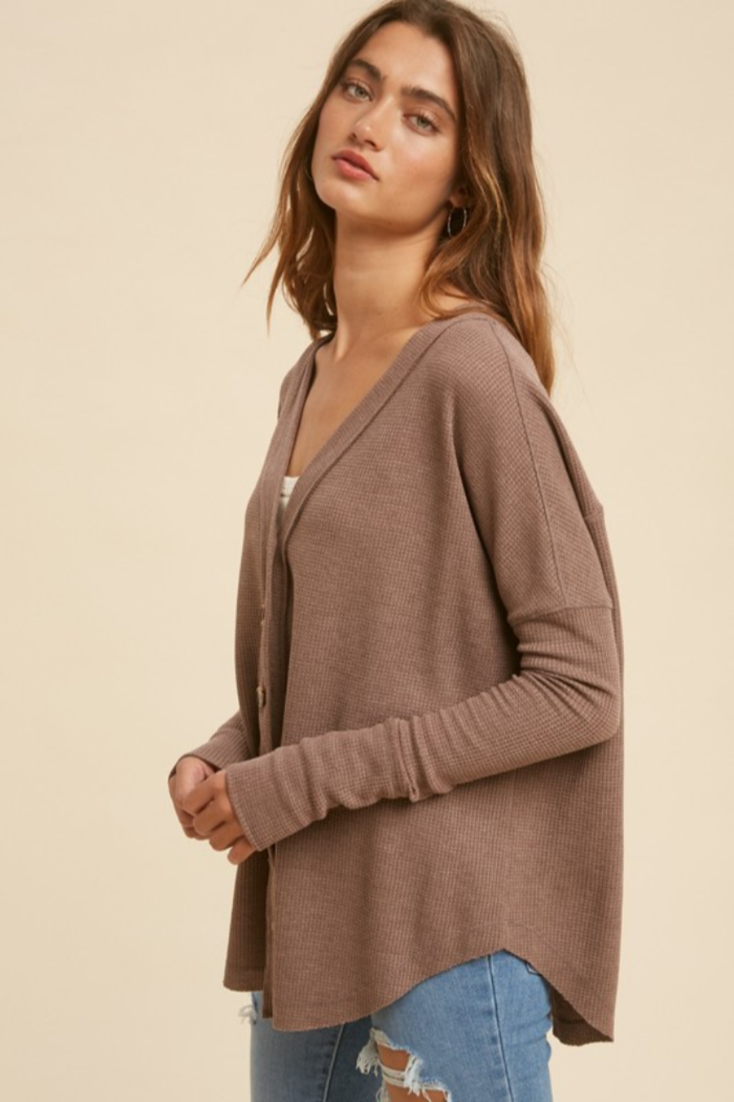 In Loom Mocha Latte Thermal Button Down - Front Full Image