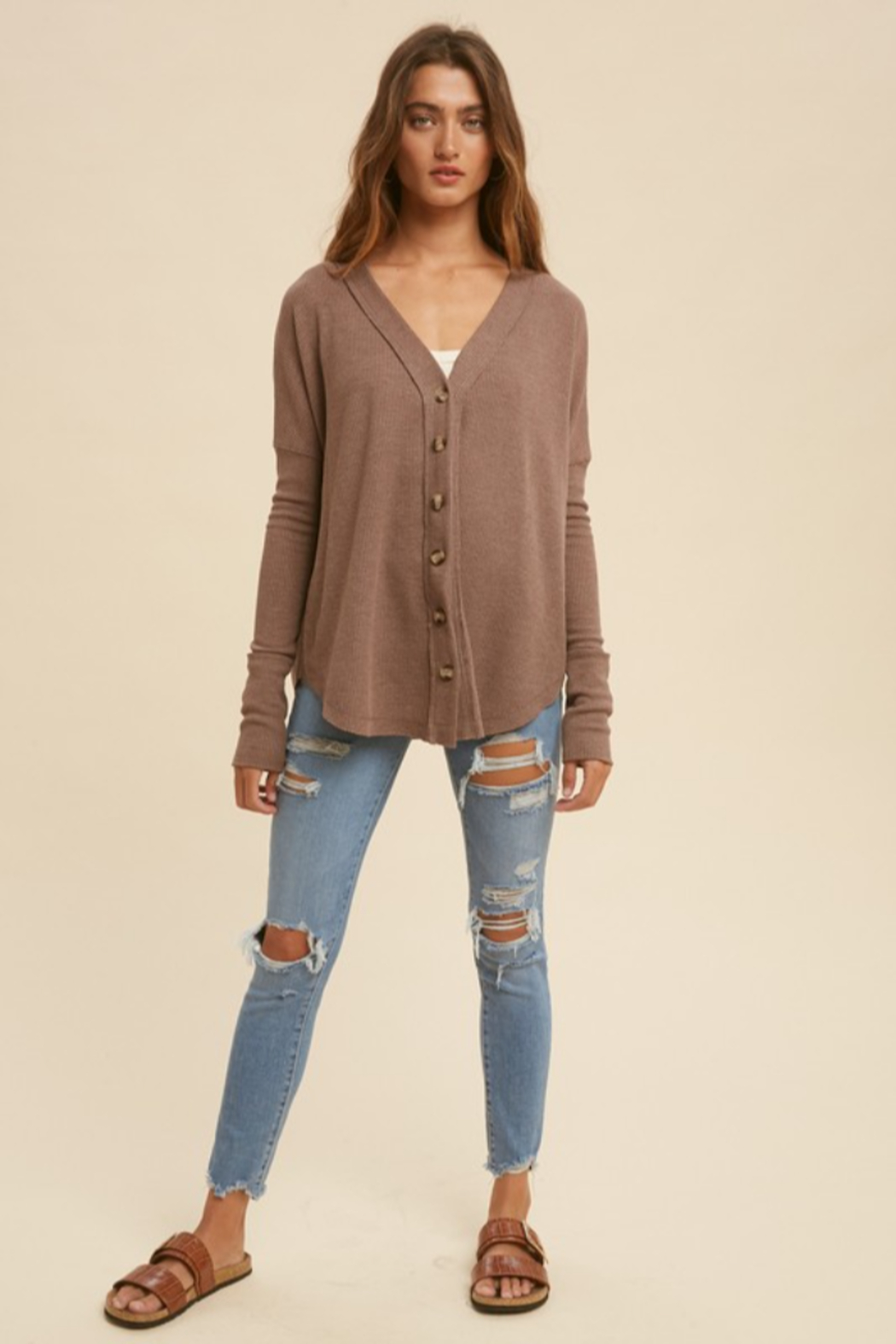 In Loom Mocha Latte Thermal Button Down - Back Cropped Image