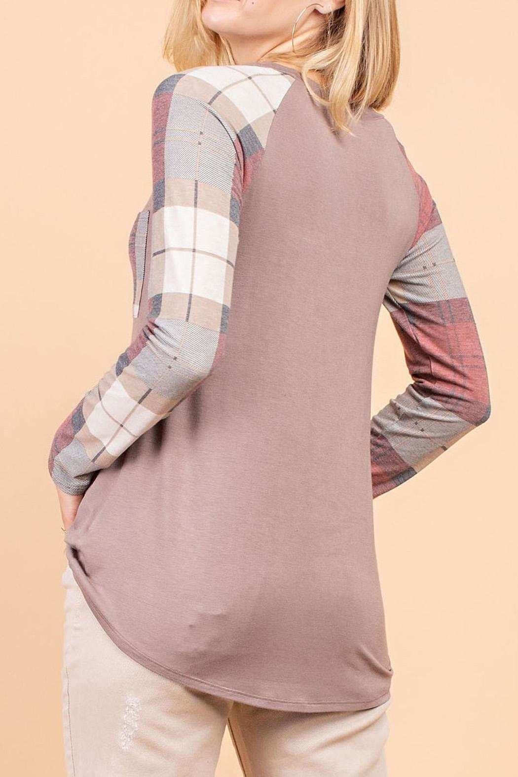 12pm by Mon Ami Mocha Plaid Top - Front Full Image