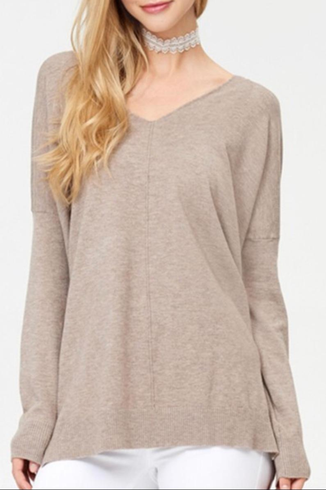 Dreamers Mocha Soft Sweater - Front Cropped Image