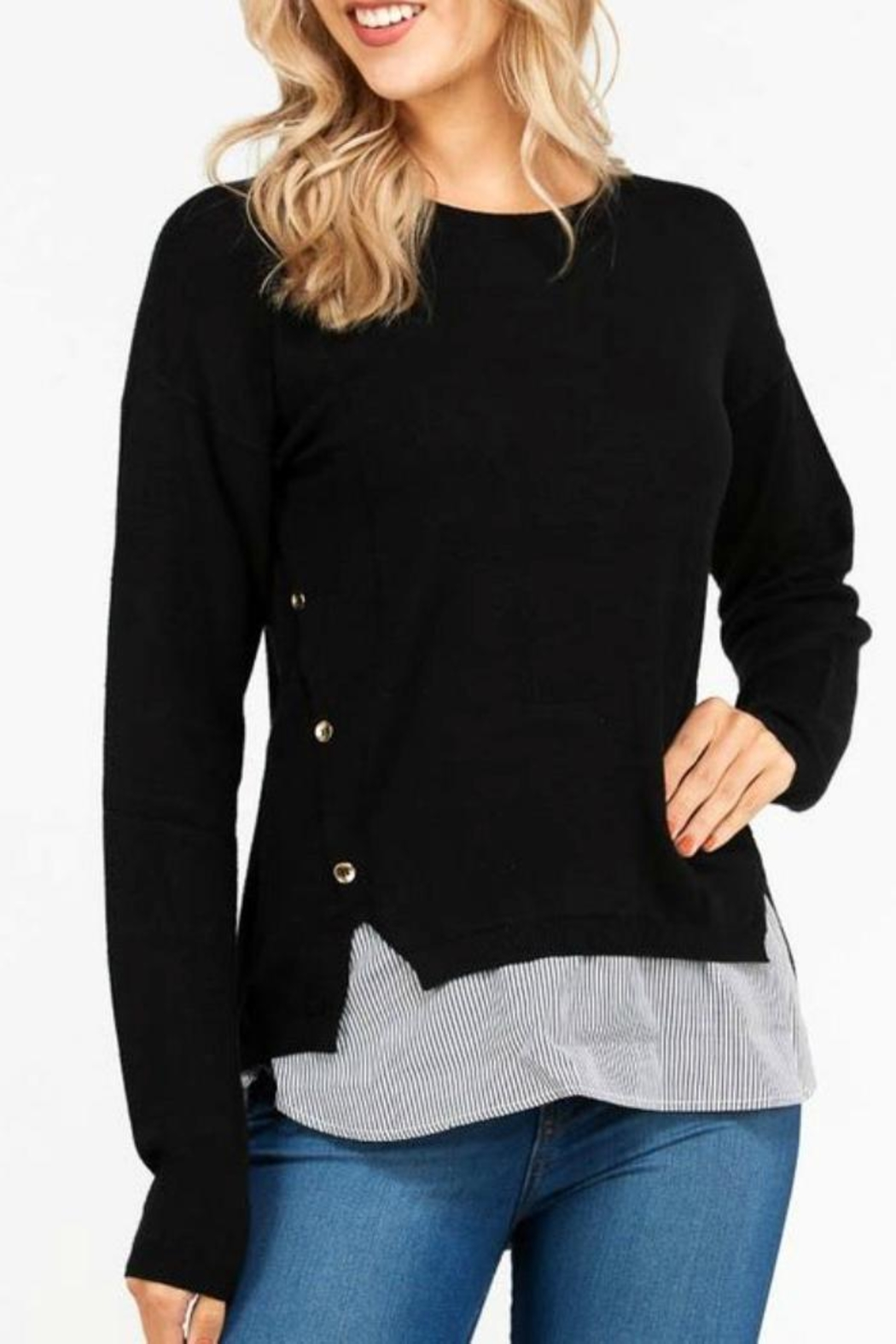 Love Tree Mock Layered Sweater - Side Cropped Image