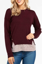 Love Tree Mock Layered Sweater - Front cropped