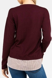 Love Tree Mock Layered Sweater - Front full body