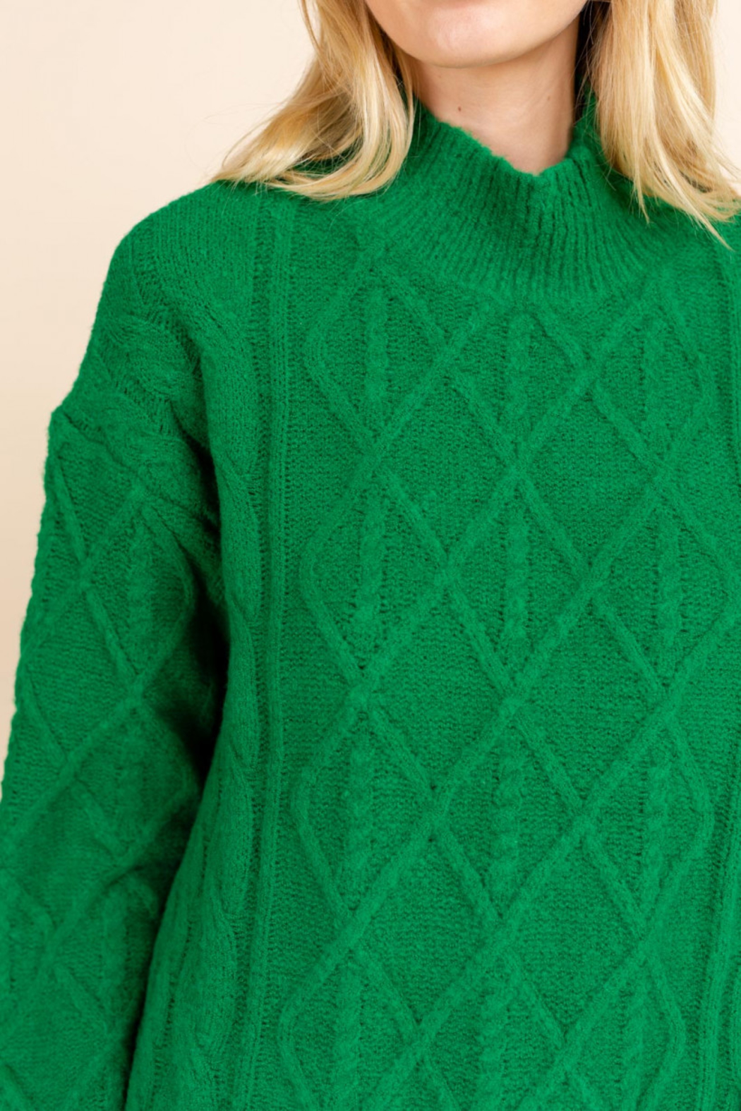 Gilli  Mock Neck Cable Knit Sweater - Front Full Image
