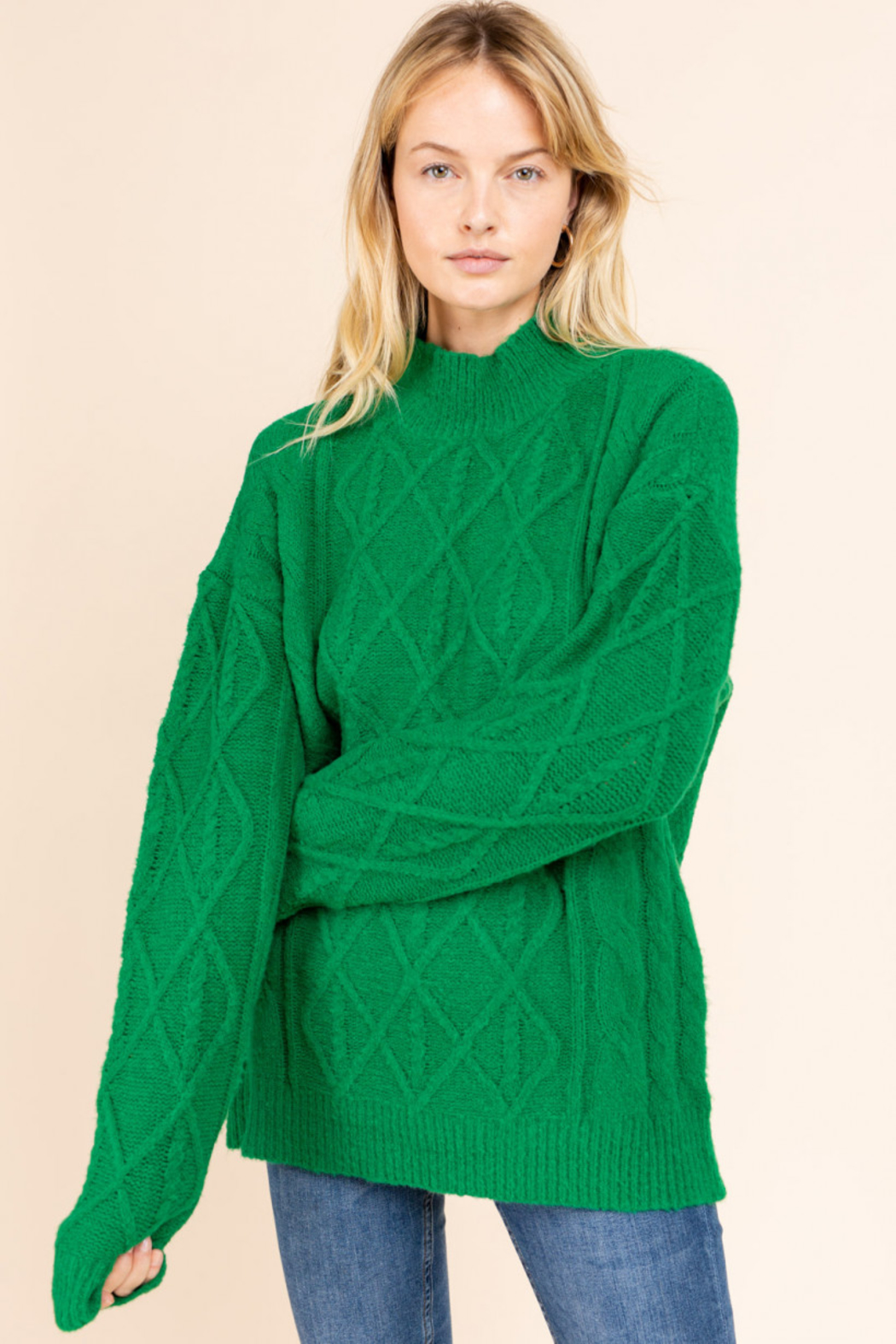 Gilli  Mock Neck Cable Knit Sweater - Front Cropped Image