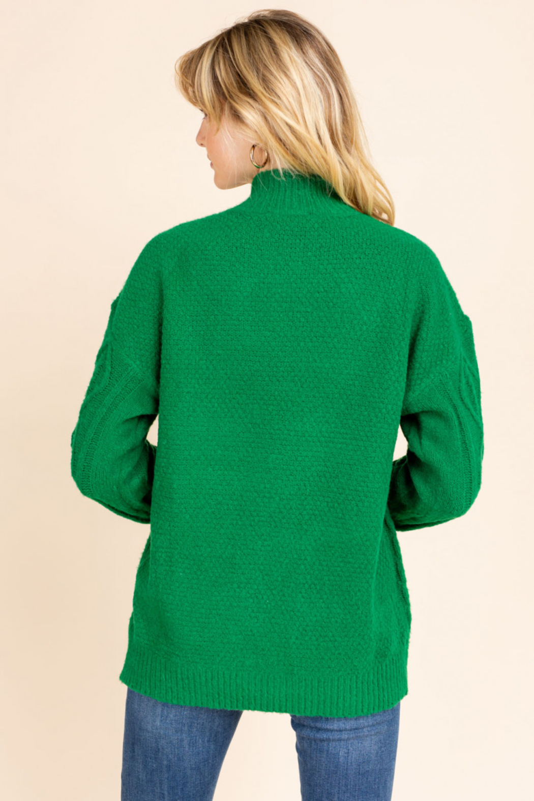 Gilli  Mock Neck Cable Knit Sweater - Back Cropped Image