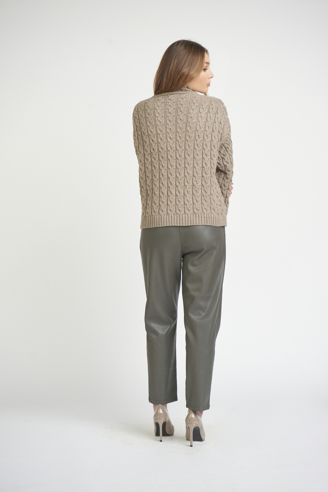 Dex Mock Neck Cable Knit Sweater - Side Cropped Image