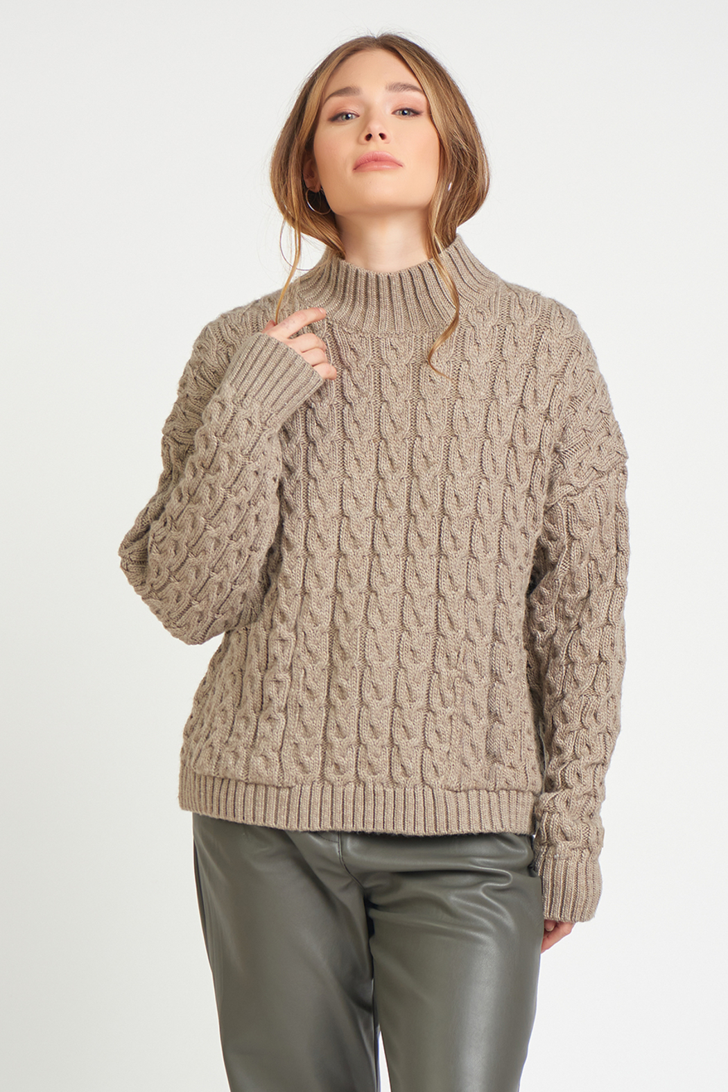 Dex Mock Neck Cable Knit Sweater - Main Image