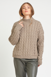 Dex Mock Neck Cable Knit Sweater - Front cropped