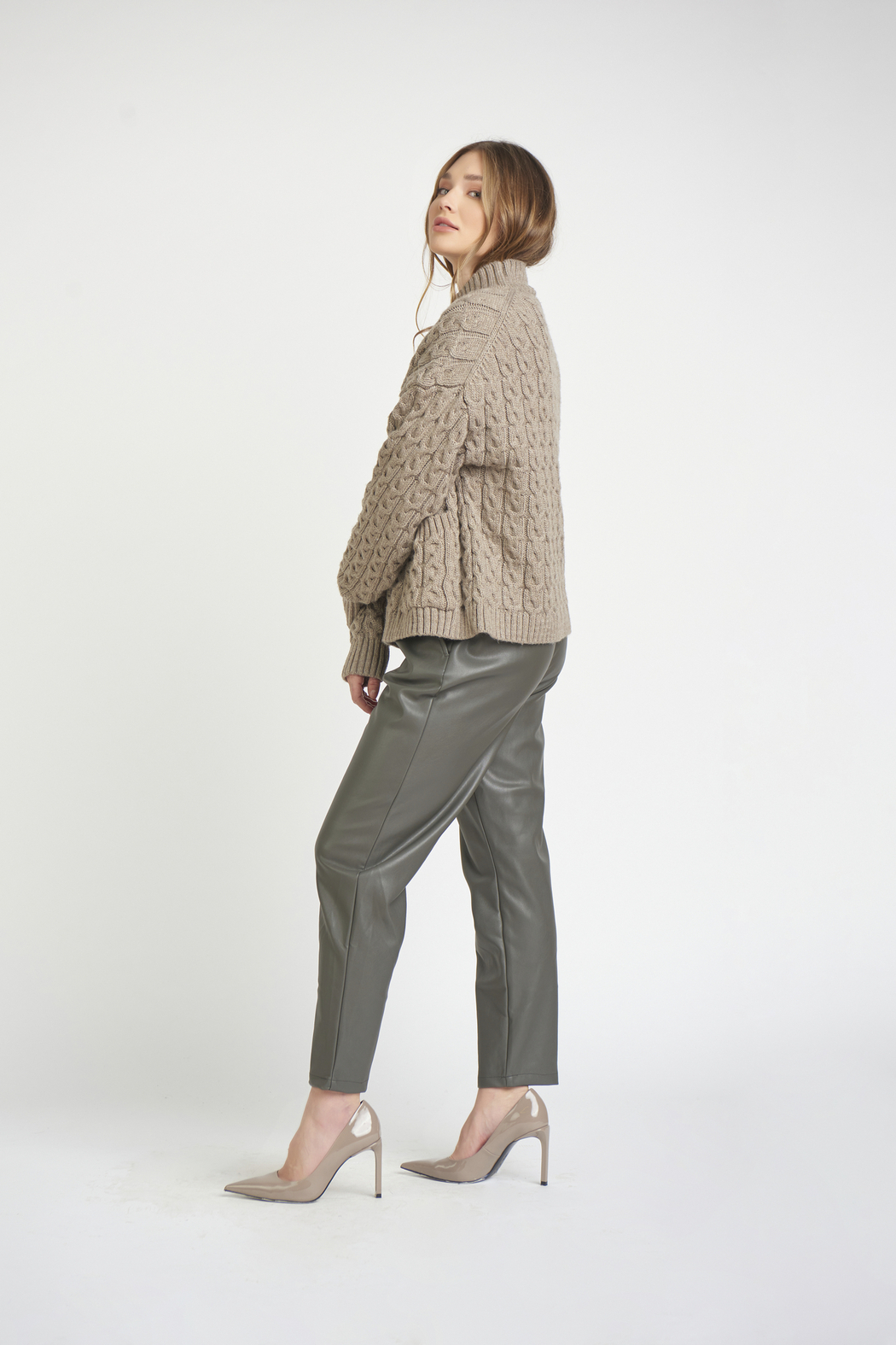 Dex Mock Neck Cable Knit Sweater - Front Full Image
