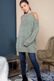 Blue B Mock Neck Cold Shoulder Sweater - Product Mini Image