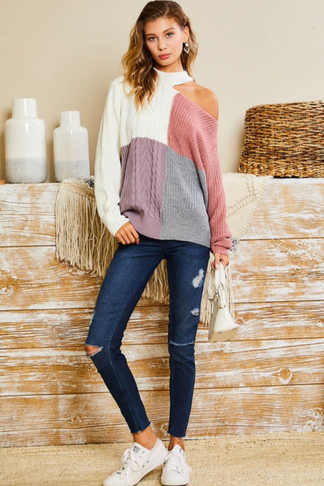 main strip  Mock Neck Cut Out Color Block Sweater - Front Cropped Image