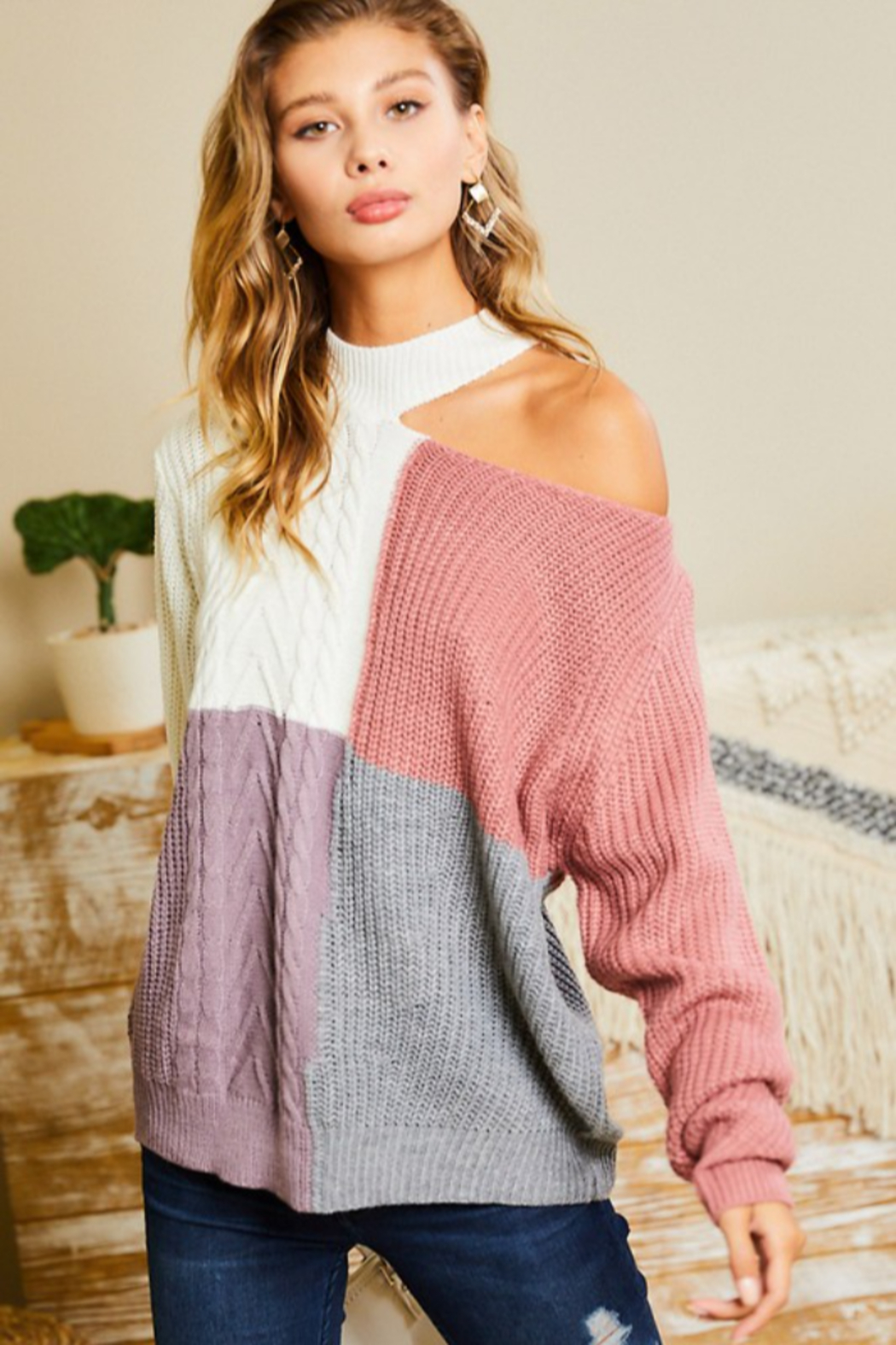 main strip  Mock Neck Cut Out Color Block Sweater - Front Full Image