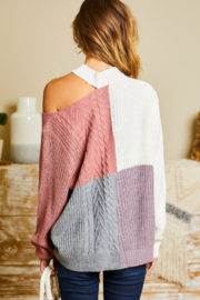 main strip  Mock Neck Cut Out Color Block Sweater - Side cropped