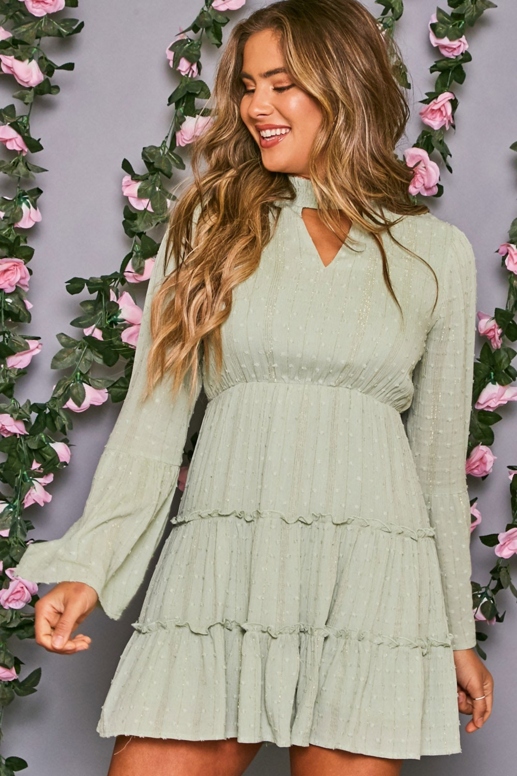 Peach Love California Mock Neck Dress - Front Cropped Image