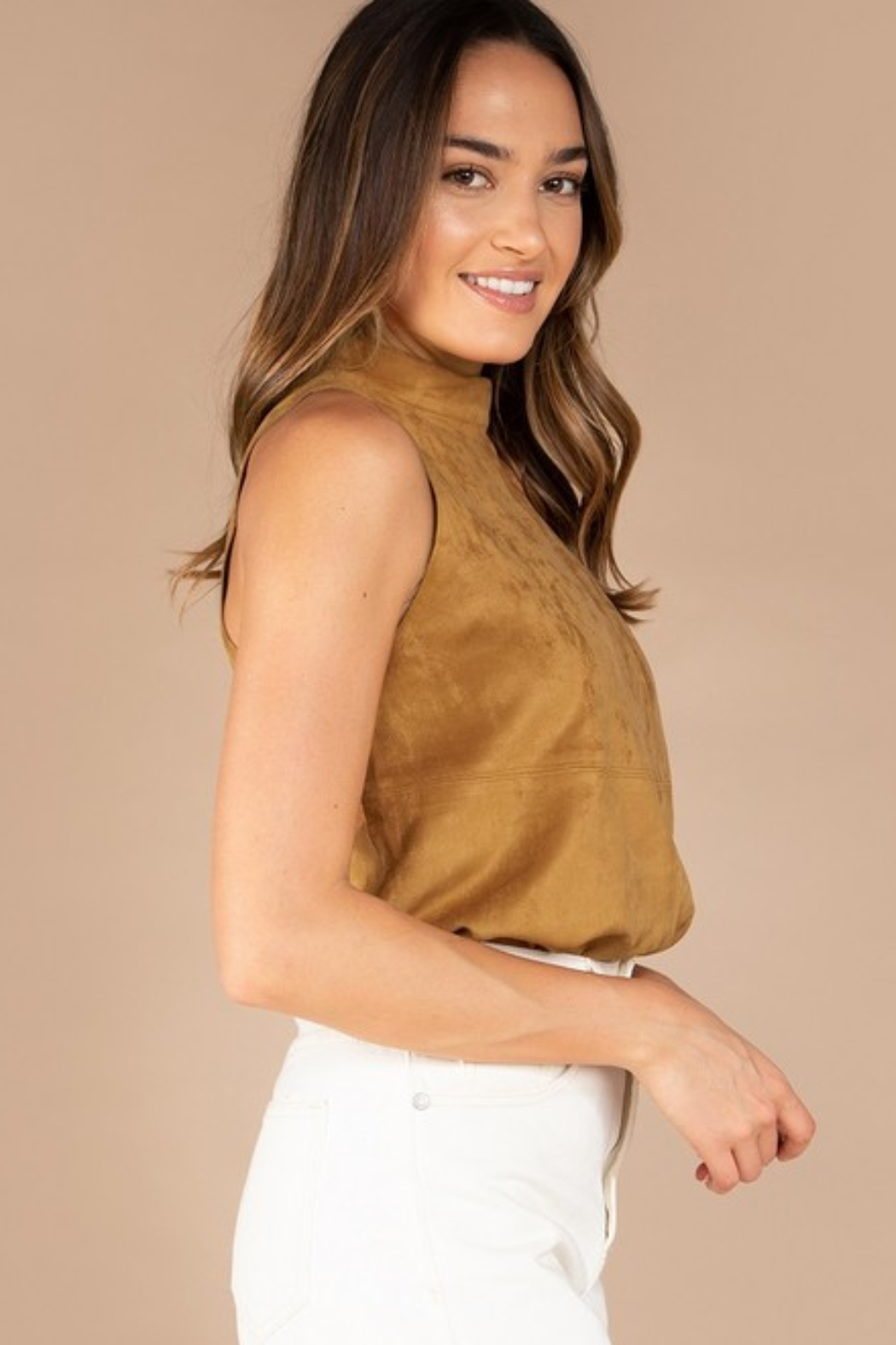 Olivaceous  Mock Neck Faux Suede Top - Front Full Image