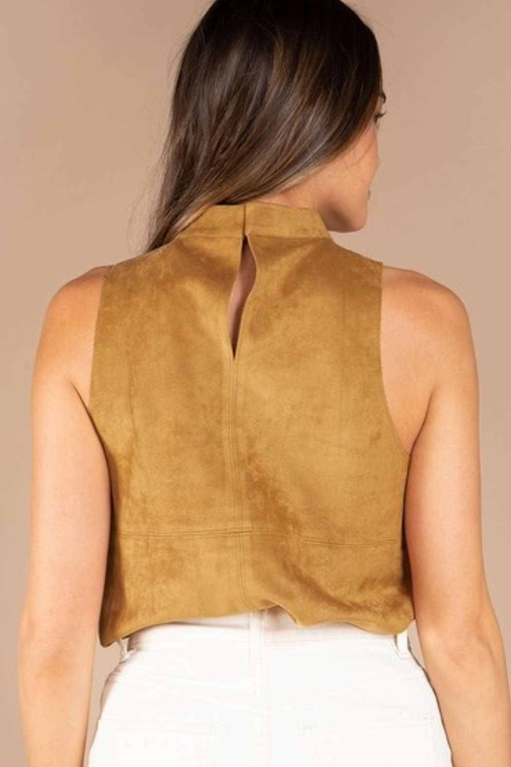 Olivaceous  Mock Neck Faux Suede Top - Side Cropped Image