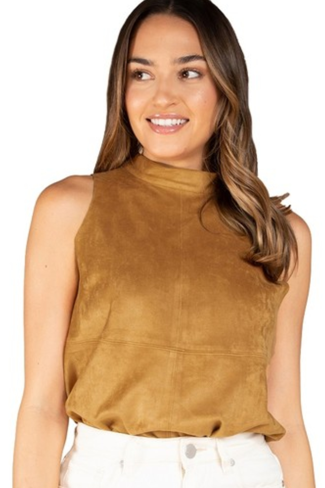 Olivaceous  Mock Neck Faux Suede Top - Front Cropped Image