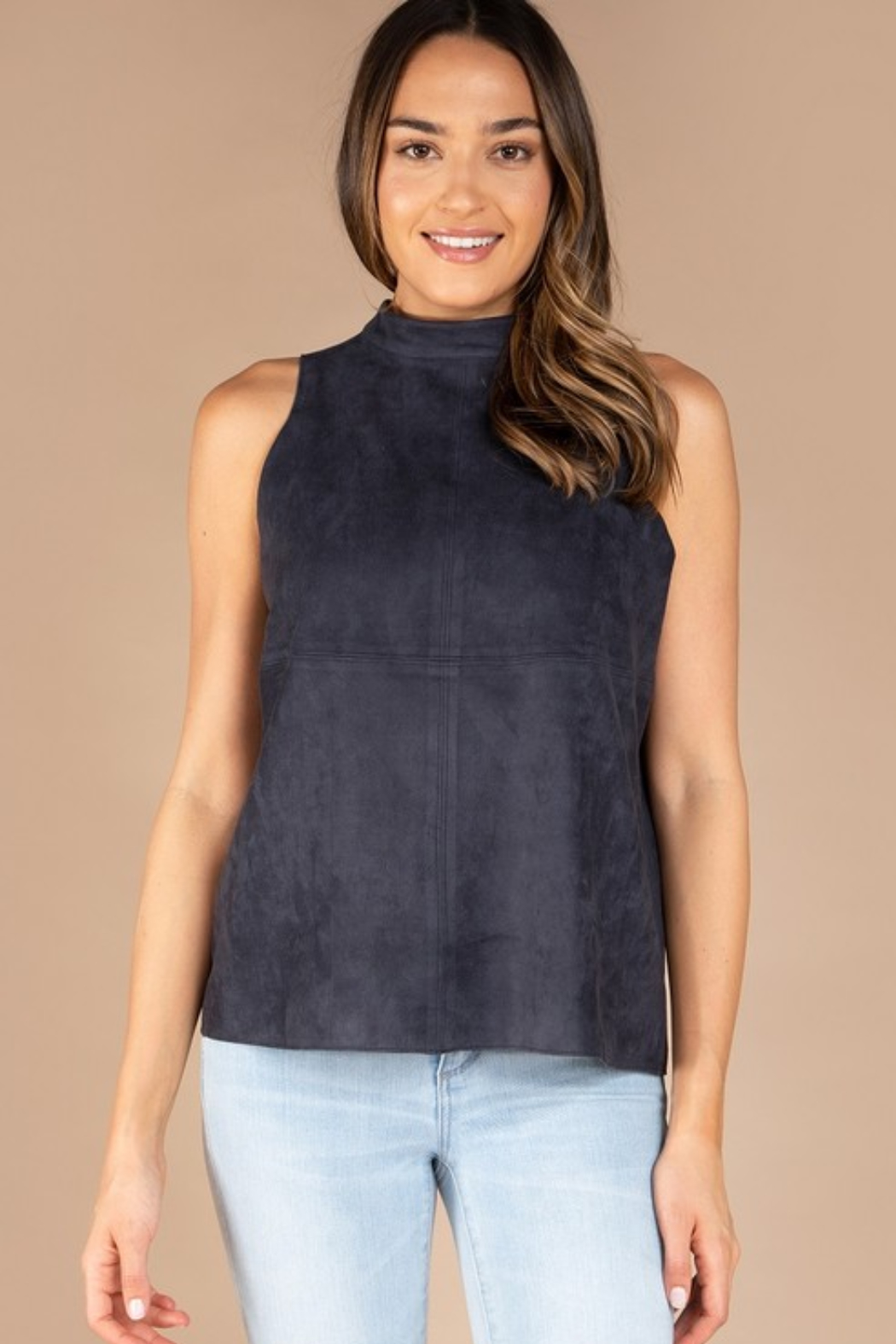 Olivaceous  Mock Neck Faux Suede Top - Main Image