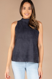 Olivaceous  Mock Neck Faux Suede Top - Front cropped